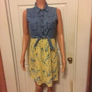 Vintage 90's Kandy Kiss Denim Yellow Floral Dress